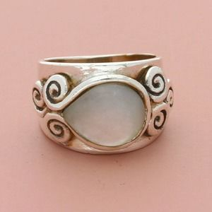 sterling designer mother of pearl swirls band ring